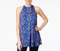 Hippie Rose Juniors Sleeveless Swing Tunic, Blue Tile Floral