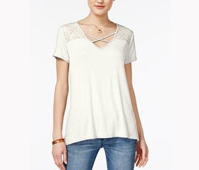 Hippie Rose Juniors Crisscross Lace Inset Top, Narnia White