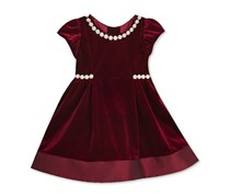 Rare Editions Baby Girls Imitation Pearl-Trim Dress, Burgundy