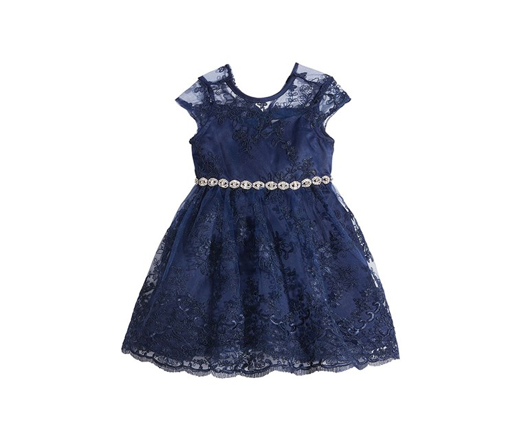 Embellished-Waist Lace Fit & Flare Baby Girls Dress, Navy