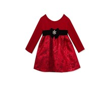 Rare Editions Baby Girls  Metallic Knit & Brocade Dress, Red
