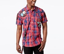 Heritage America Mens Plaid Patch Shirt, Red Plaid