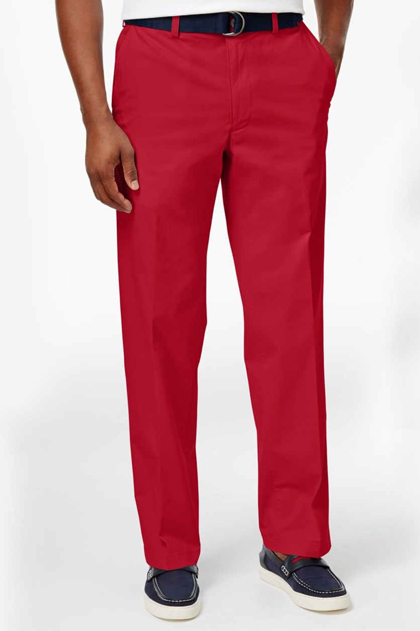 Men's Classic-Fit Poplin Stretch Pants, Red