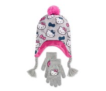 Hello Kitty Girls Hat And Gloves, Grey/Pink