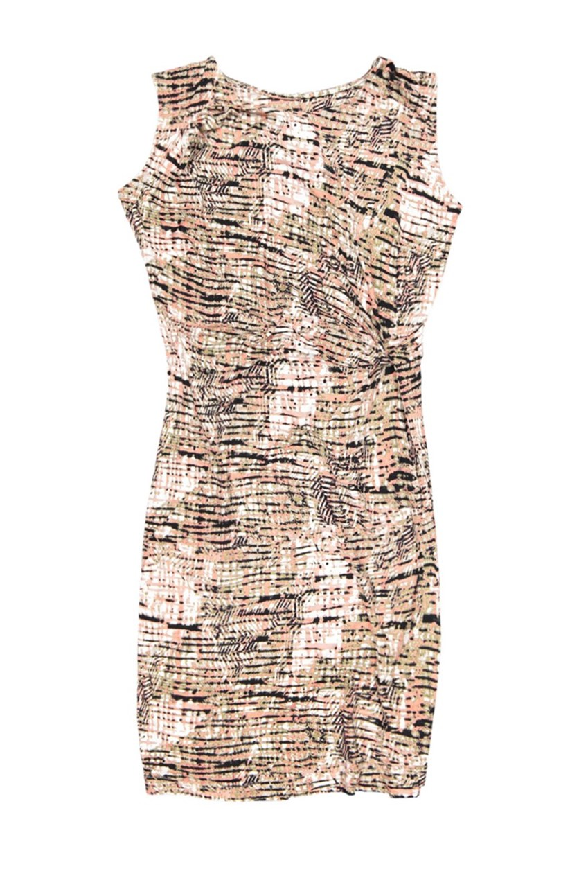Sleeveless Knot Dress, Burnt Coral Print