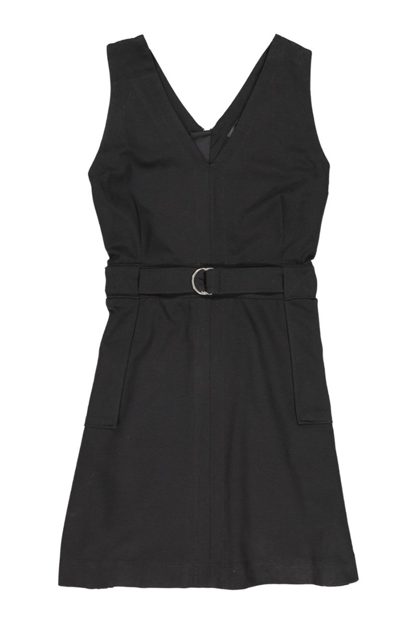 Ponte Sleeveless Utility Dress, Black