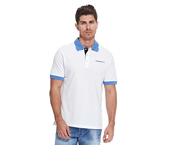 Men Spread Collar Polo, White