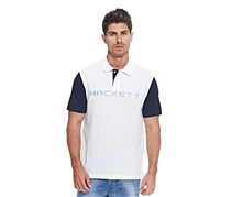 Men Cotton Pique with Contrast Sleeve Top, White