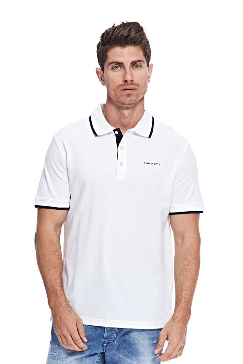 Men's Cotton Pique Polo, White