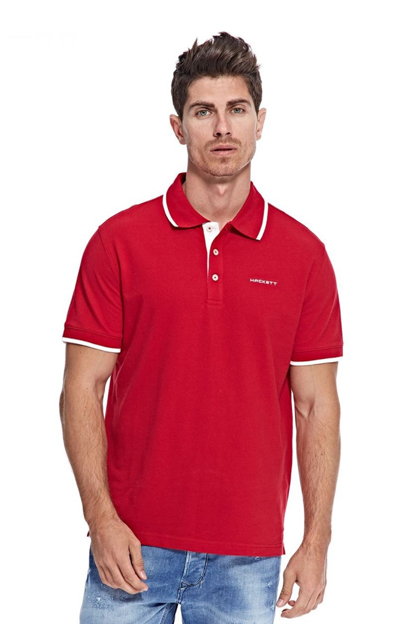 Men's Cotton Pique Polo, Red