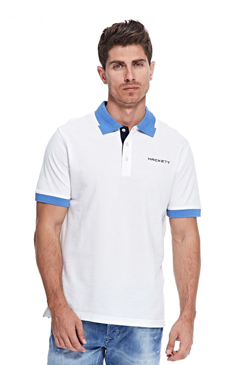 Hackett Men's Cotton Pique Polo, White/Blue