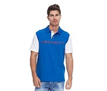 Hackett Men's Cotton Pique Contrast Sleeve Polo, Snorkel