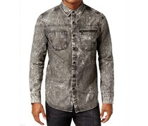 Sean John Mens Denim Shirt, Black Wash