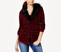 Pretty Rebellious Juniors Faux Fur-Collar Cardi