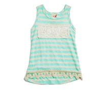 Lily Bleu Infant Girls' Lace Trimmed Striped Tank, Green