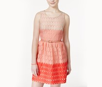 As U Wish Junior Lace-Dot Belted Sheath Dress,Coral/Pink