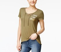 Juniors' Graphic Lace-Up T-Shirt, Olive Fatigue