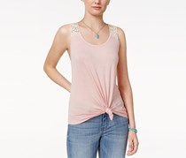 Rebellious One Juniors' Crochet-Back Tank Top, Dusty Pink