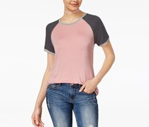 Rebellious One Juniors Colorblock Top, Dusty Pink/Charcoal