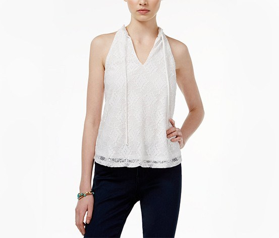 Juniors' Lace Top, White