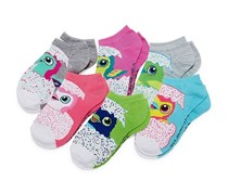 Hatchimals Girls 6 Pair No Show Socks-Big Kid, Pink/White