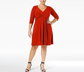 Love Squared Trendy Plus Size Knotted Fit & Flare Dress, Red
