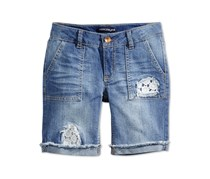 Imperial Star Crochet-Trim Denim Bermuda Short, Ellie