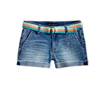 Imperial Star Belted Denim Trouser Shorts, Denim Blue