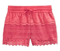 Imperial Star Girls Crochet Lace Shorts, Coral