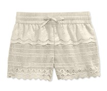 Imperial Star Girls' Crochet Lace Shorts, Natural