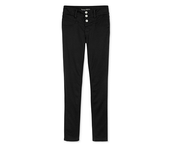 Big Girl's Snap-Front Skinny Jeans, Black