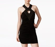 Crystal Doll Embellished Bodycon Halter Dress, Black