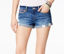 Rewash Juniors' Embroidered Denim Shorts, Denim
