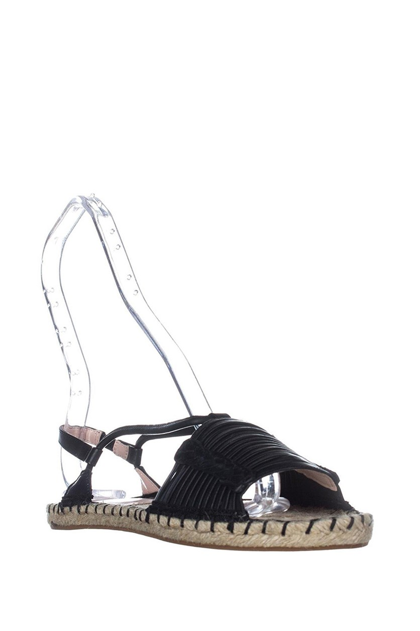 Genevie Open Toe Slingback Espadrille Flats, Black