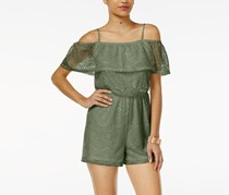 Ultra Flirt Ruffle Lace Off-The-Shoulder Romper, Olive