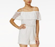 Ultra Flirt Juniors' Ruffle Lace Off-The-Shoulder Romper, Ivory