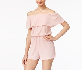 Ultra Flirt Pleated Off-The-Shouler Romper, Silver/Pink