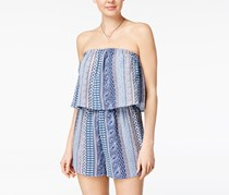 Ultra Flirt Juniors' Printed Strapless Popover Romper, True Navy