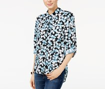 Printed Roll-Tab Shirt, Porcelain Blue