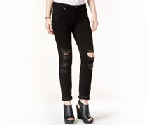 Ripped Skinny Girlfriend Jeans, Black