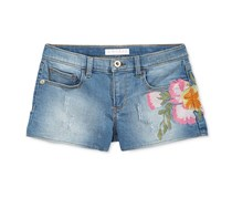 Guess Embroidered Denim Shorts, Wash Blue