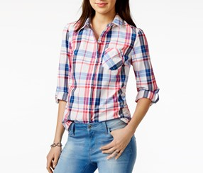 Tommy Hilfiger Cotton Plaid Roll-Tab Shirt, White Combo
