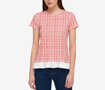 Tommy Hilfiger  Layered-Look Bow-Back Top, Dusty Coral