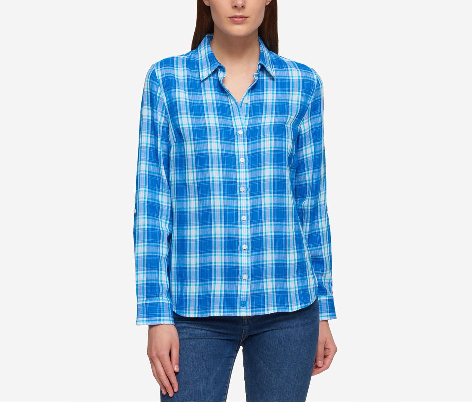 Tommy Hilfiger Cotton Plaid Shirt,  Blue Orchid Lagoon