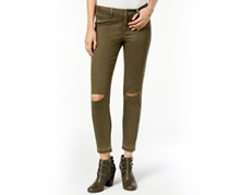 Ripped Knee Slit Colored Skinny Jeans, Green