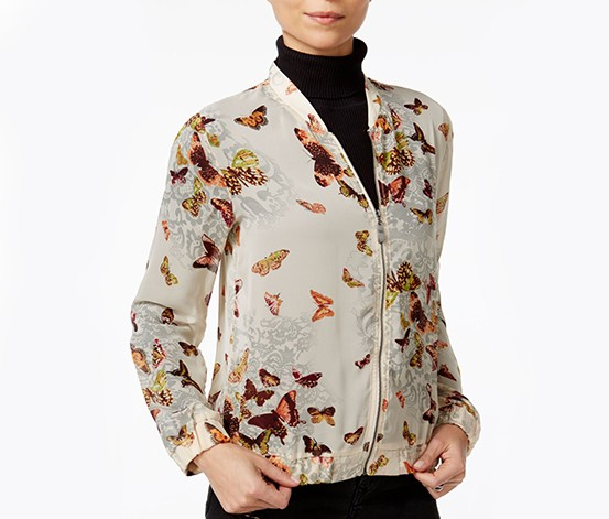 Fair Child Butterfly-Print Bomber Jacket, Beige
