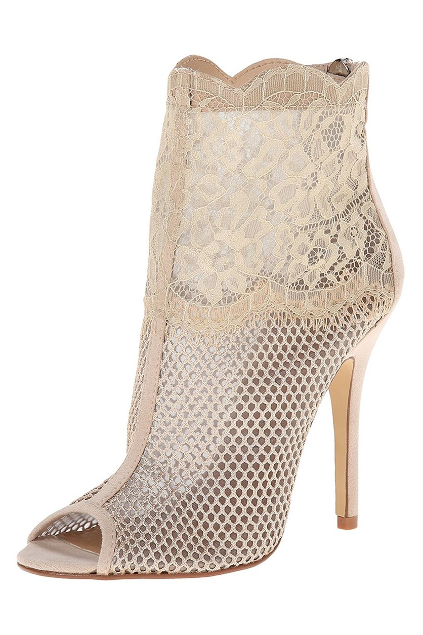 Jeopardy Mesh Lace Booties, Blush Lace