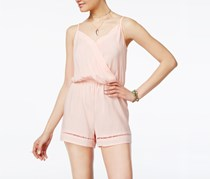 Be Bop Juniors' Crochet-Trim Spaghetti-Strap Romper, Light Pink