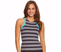 Jag Harbour Stripe Racerback Tankini Top, Black/White
