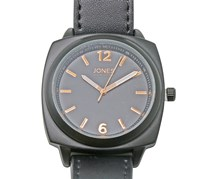 Jones New York Mens Leather Analog Quartz Movement Casual Wrist Watch, Black